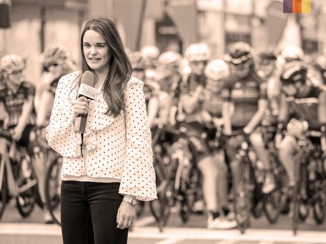 Laura winter gives speech to other cyclists