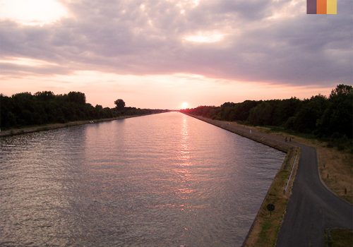 Sunset at the Albert Canal in Belgium