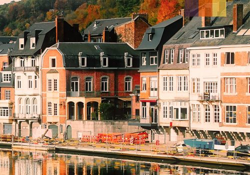Picturesque houses with water around them in Belgium