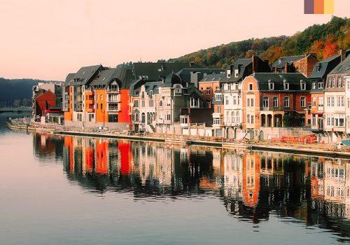 Belgium houses reflection