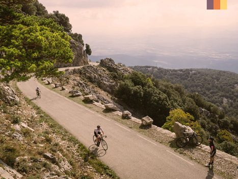 cyclists ride through the climbs in the Spanish Pyrenees