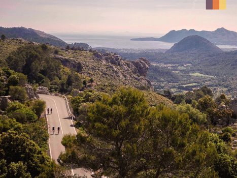 Cyclists ride in Mallorca