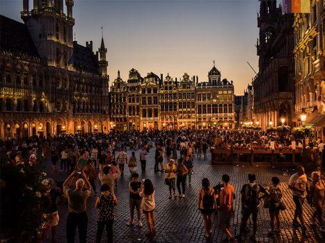 Big market of Leuven by Night