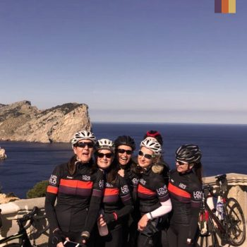 6 women pose at the Cap Formentor Lighthouse in Mallorca