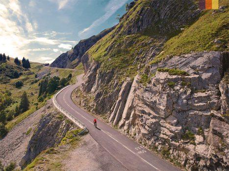 Cyclist climbs the Col des Glieres