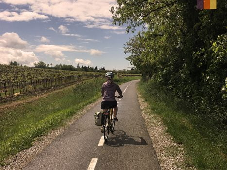 Cyclist in the countryside in Croatia