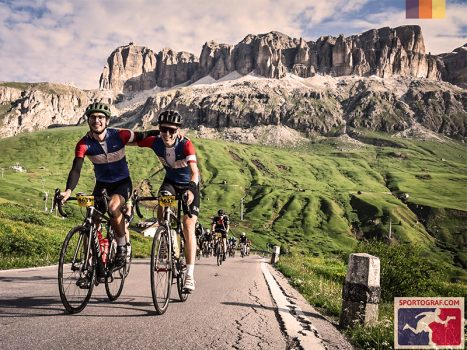 Cyclist friends doing the Maratona Dles Dolomites, Italy