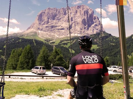 Love Velo cyclist in Dolomites, Italy