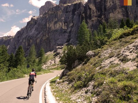 Love Velo cyclist doing the Maratona Dles Dolomites, Italy