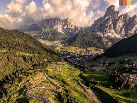 Maratona Dles Dolomites mountains and switchbacks