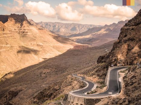 cycling switchback road in the valley of tears, gran canaria