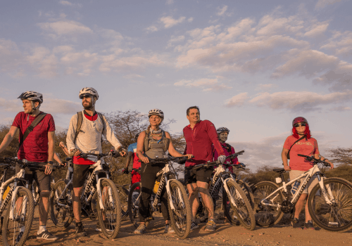 A group of cyclists on mountain bikes in the desert of Tanzania