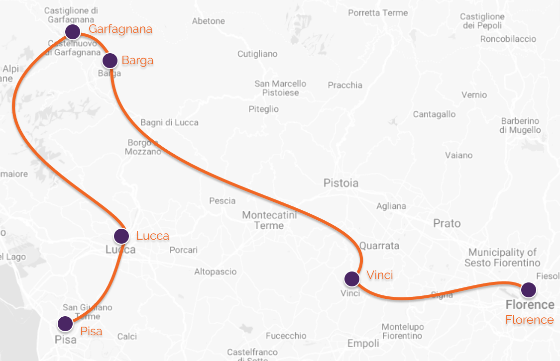 map of guided cycling in tuscany