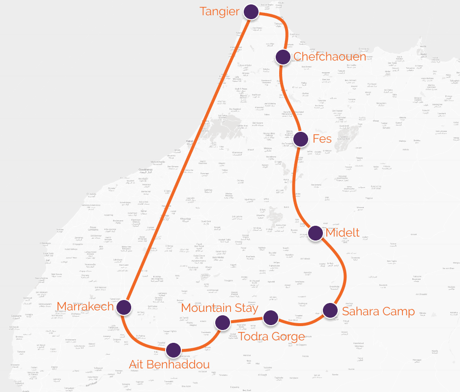 morocco cycle route map