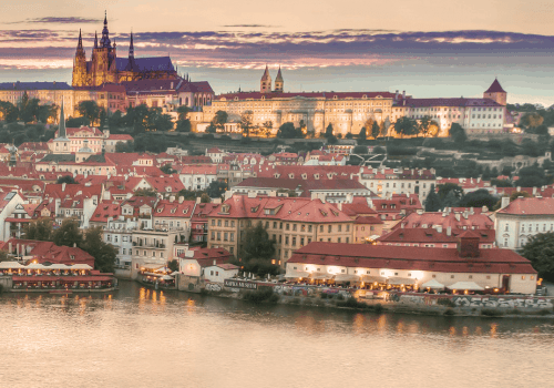 view of the charles bridge and vltava river in prague city
