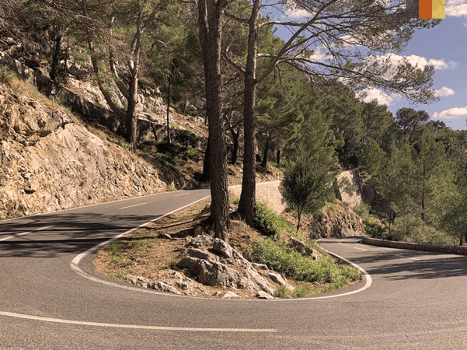 a switchback road on a climb in mallorca