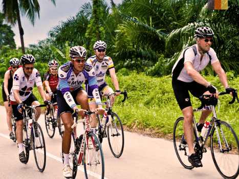 group of road cyclists on a smooth tarmac road lined with palm trees in northern thailand