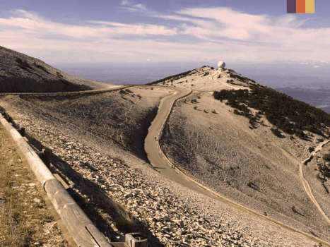 the summit of mont ventoux, an iconic cycling climb in france featured in the tour de france