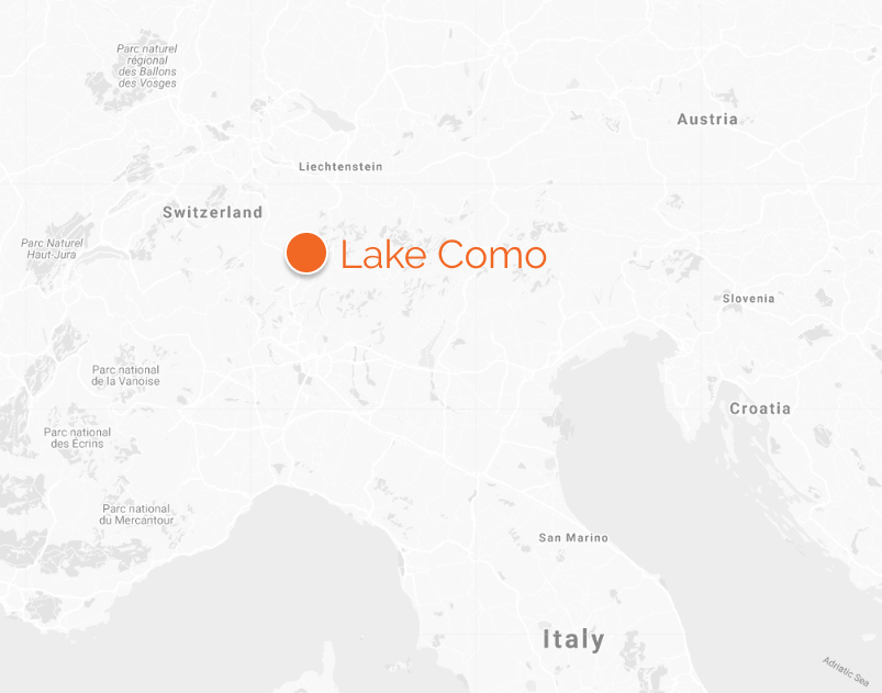 map of lake como in relation to Italy, Switzerland, Lichtenstein and Austria