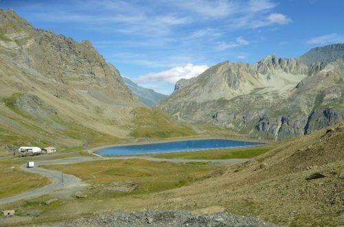 a lake near col de l'iseran in france