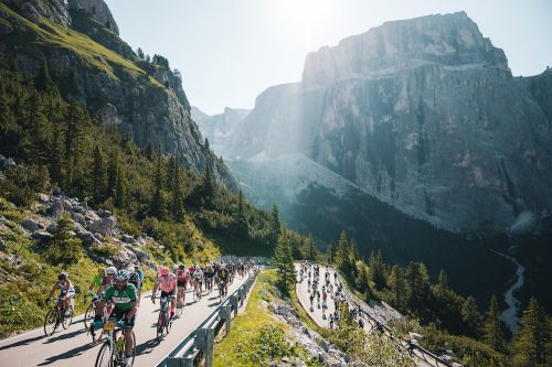 Cyclists climb the Passo Giau during the Maratona dles Dolomites sportive