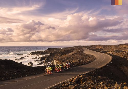 a group of road cyclists on a coastal road in lanzarote