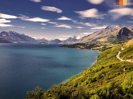 view of new zealand lake and mountains