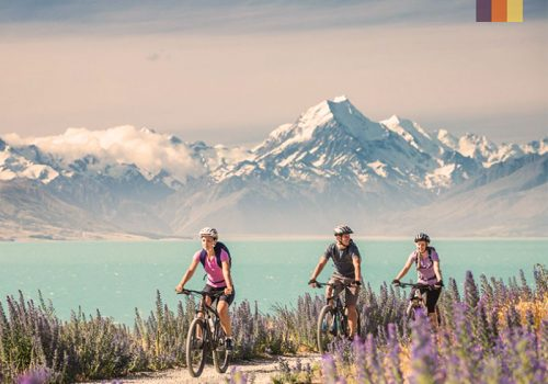 three cyclists cycling on a cycle path in new zealand against snow capped mountains and crystal clear lake