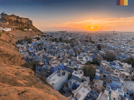 overlooking the blue city of Navchokiya near jodhpur in Rajasthan, india