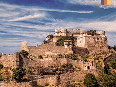 the Kumbhalgarh Fort near ranakpur in india, which is a unesco world heritage site
