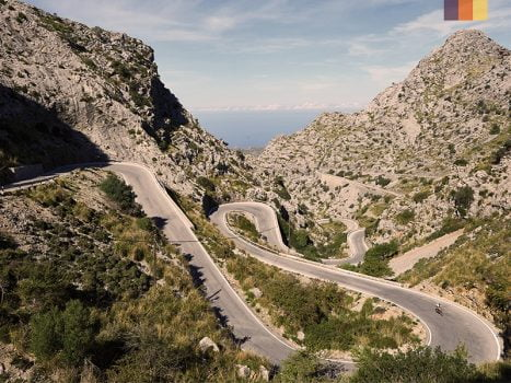 the winding roads of sa calobra climb on the North mallorca tramuntana mountains popular with cyclists