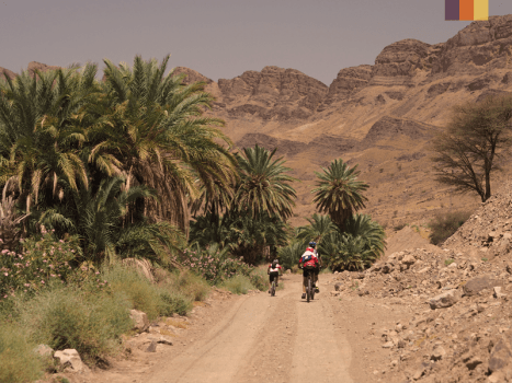 cyclists on mountain bikes on a dusty road in morocco's atlas mountains