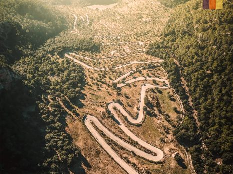 the switchback roads of coll de soller in mallorca, popular with road cyclists