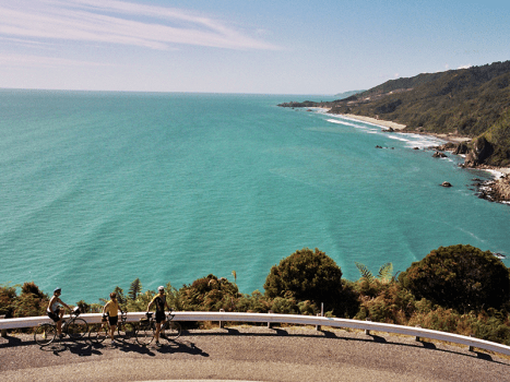 a group of cyclists on a road beside the sea in new zealand