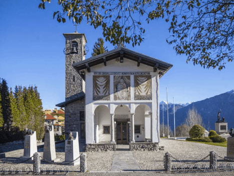 madonna del ghissalo chapel near lake como in northern italy