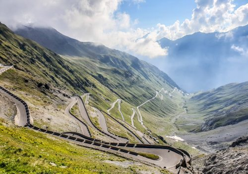 the passo stelvio climb in northern italy popular with cyclists because of switchbacks