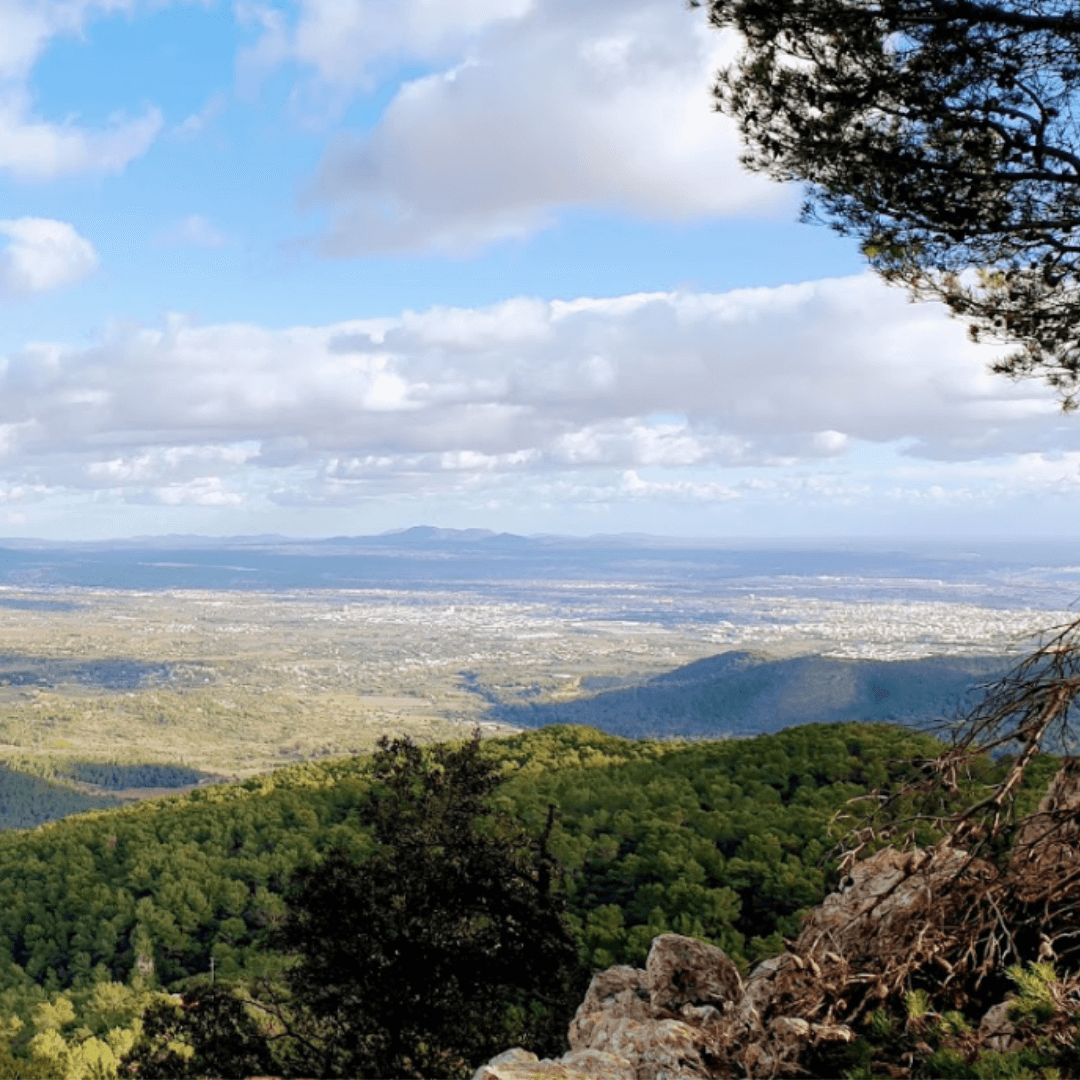 View of the flatlands from the cyclimg climb up to Sobremunt in Mallorca