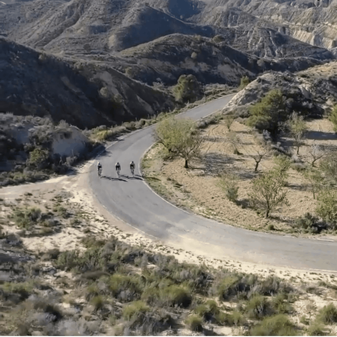 3 cyclists climbing the Cabeza climb in Murcia