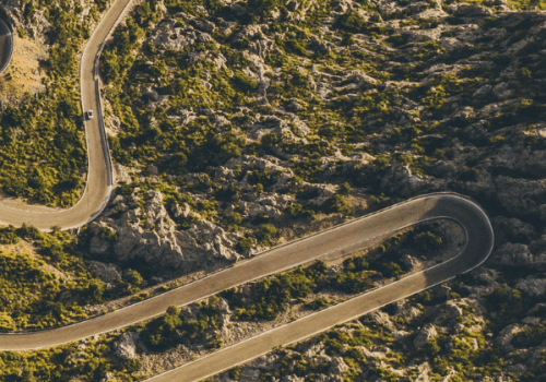 Aerial view of Sa Calobra's winding road in Mallorca.