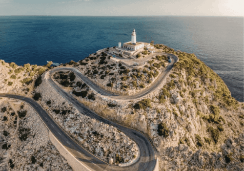 Panoramic Aerial View of Cap Formentor in Mallorca
