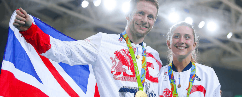 Jason Kenny & Laura Kenny with gold medals at Rio 2016 Olympic Games