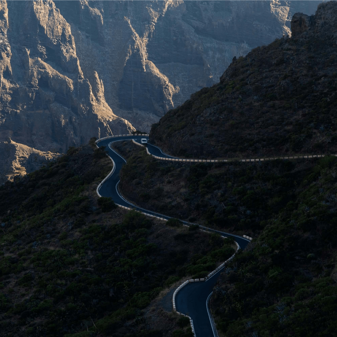View of the road down into Masca Valley, Tenerife