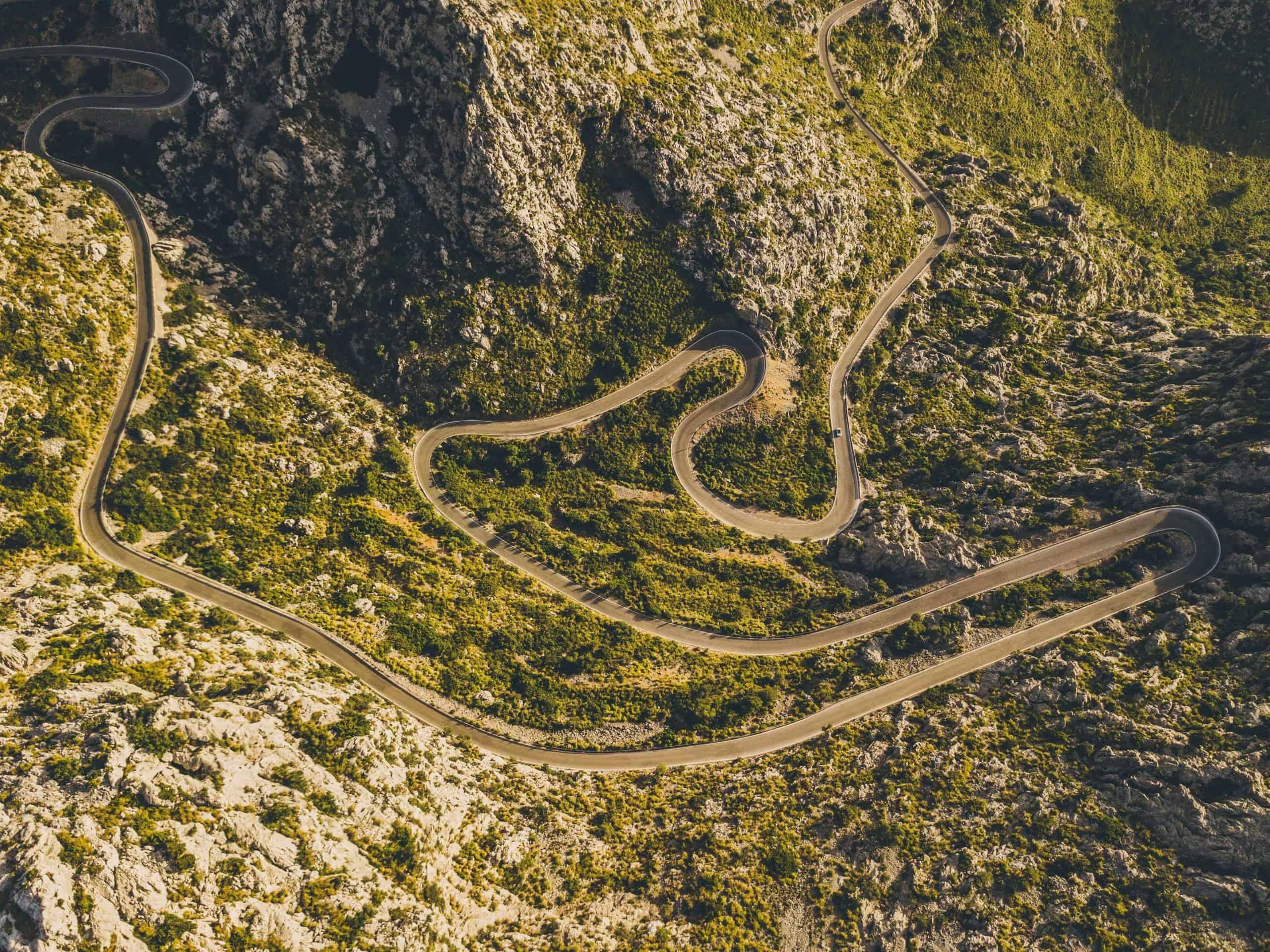 Aerial view of Sa Calobra switchback roads in Mallorca