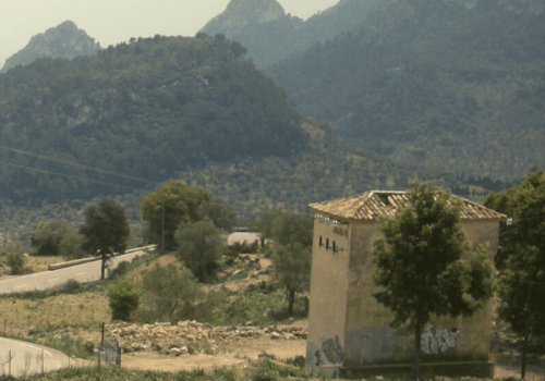View of the bendy roads of the Coll de Soller in Mallorca