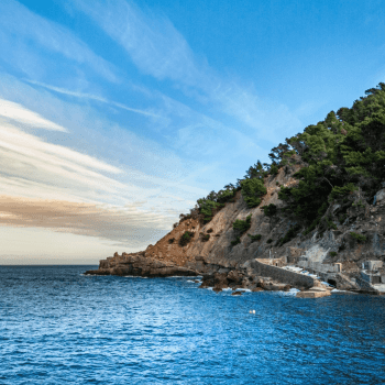 View of the sea and the cliffs at Estellencs in Mallorca
