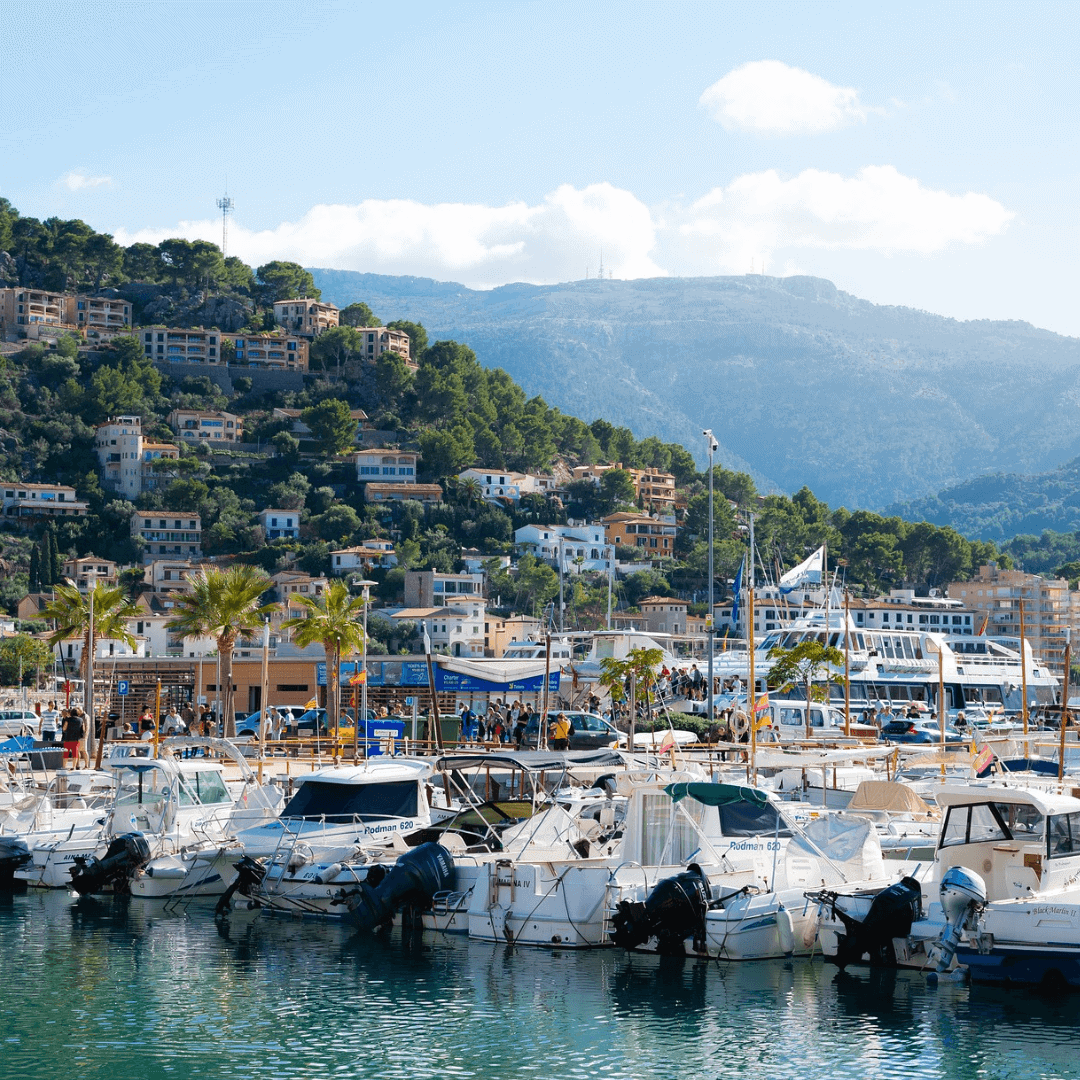View of Port Soller in the foreground with the Tramuntana mountains in the background