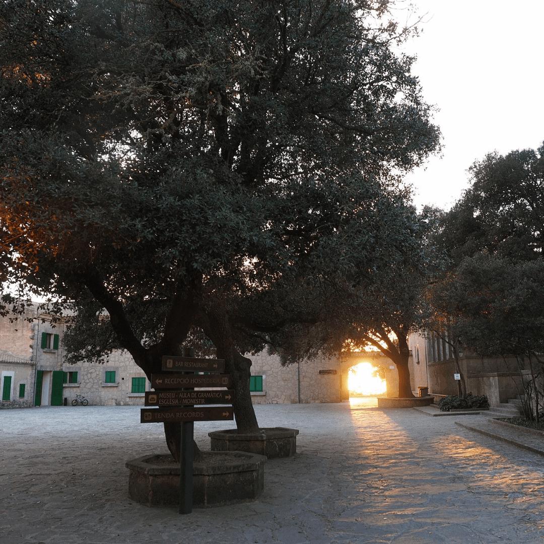 The stone courtyard at the Santuari de Cura