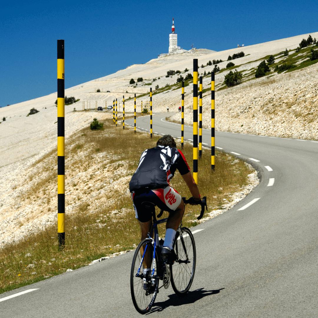 Cyclist riding up Mont Ventoux