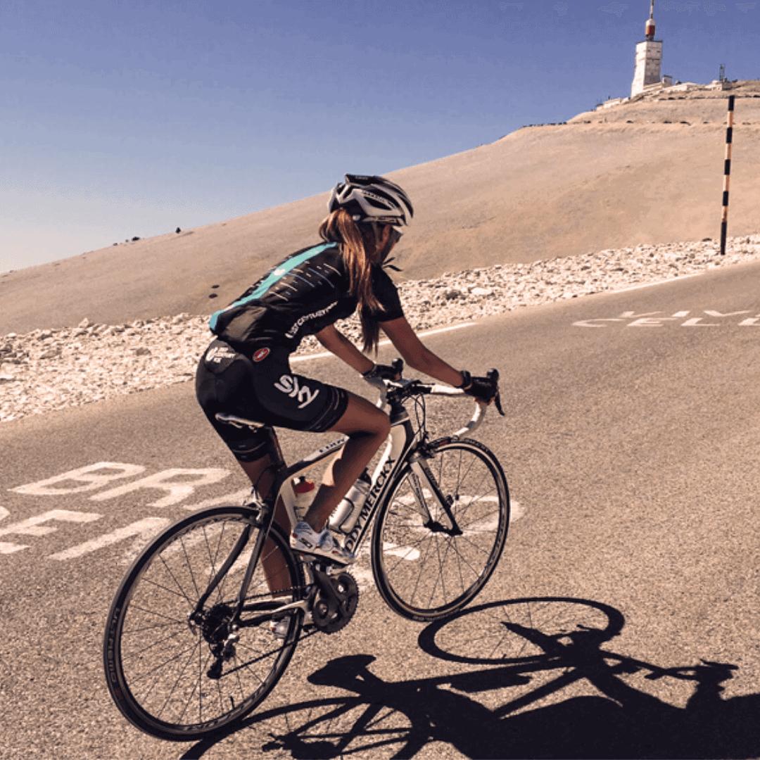 Woman Cyclist riding up Mont Ventoux