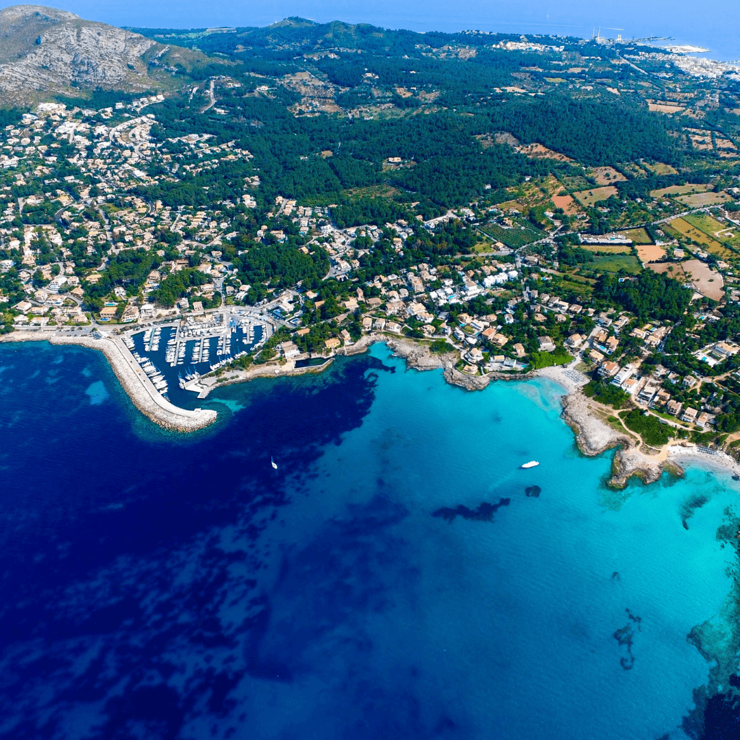 Aerial view over the Port of Alcudia